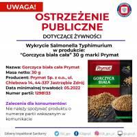 """UWAGA! Wykrycie Salmonelli w produkcie """"Gorczyca biała cała"""" 30 g marki Prymat"""